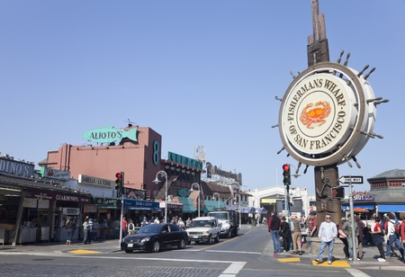 SAN FRANCISCO, USA - OCTOBER 25: Fishermans Wharf of San Francisco central sign