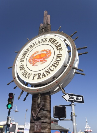 wharf: SAN FRANCISCO, USA - OCTOBER 25: Fishermans Wharf of San Francisco central sign