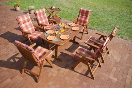 teak: The Garden furniture on the patio