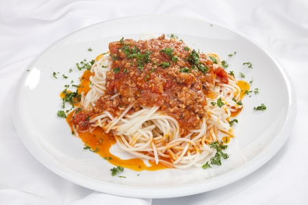 Spaghetti Bolognese w chopped parsley photo