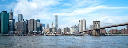 The New York City skyline at afternoon w the Freedom tower Standard-Bild