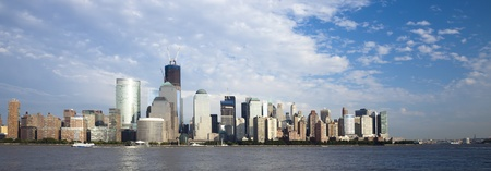 sky scrapers: The New York City skyline at the afternoon w the Freedom tower Stock Photo
