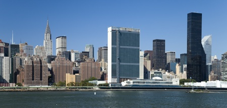 united nations: The New York City Uptown w United Nations Buildings Stock Photo