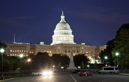 The US Capitol in Washington D C  in the night photo