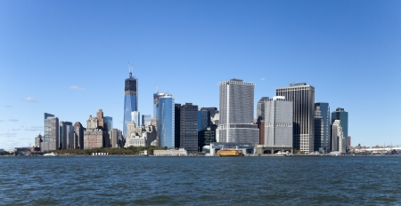 The New York City skyline at afternoon w the Freedom tower Stock Photo - 15659290