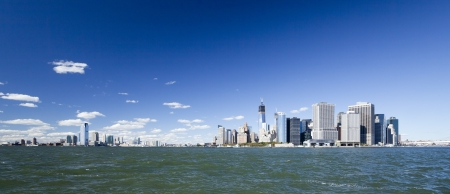 The New York City and New Jersey skyline at afternoon w the Freedom tower and Brooklyn bridge Stock Photo - 15659287