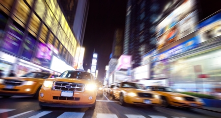 brand new: Time Square full of Taxi Cabs in the night