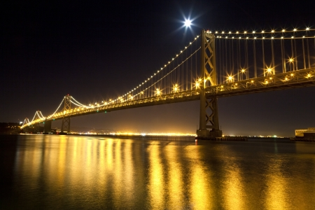 San Francisco Bay bridge in the night photo