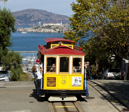 SAN FRANCISCO - NOVEMBER 2012: The Cable car tram, November 2nd, 2012 in San Francisco, USA. The San Francisco cable car system is world last permanently manually operated cable car system.