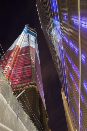 NEW YORK CITY - SEPTEMBER 17: One World Trade Center (known as the Freedom Tower) is shown under new  illumination on September 17, 2012 in New York, New York.