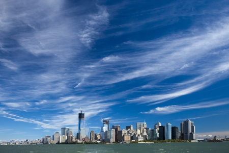 The New York City skyline at afternoon w the Tower 4 and Freedom tower under construction Stock Photo - 16823386