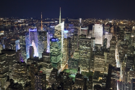 new york at night: The New York City Uptown panorama with Times Square in the night