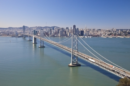San Francisco and Bay bridge traffic aerial view photo