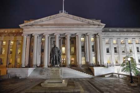 US Treasury Department in Washington D.C in the night