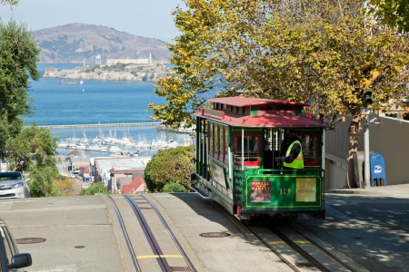 SAN FRANCISCO - NOVEMBER 2012: The Cable car tram, November 2nd, 2012 in San Francisco, USA. The San Francisco cable car system is world last permanently manually operated cable car system. Lines were established between 1873 and 1890.