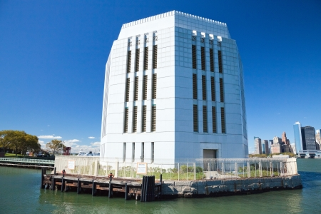 nighty: New York City  Peck Slip  A nighty of Brookly Battery tunnel ventilation on Governors Island