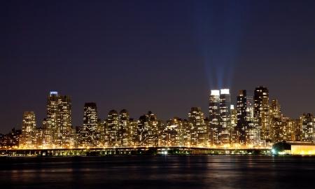 sky scrapers: The New York City Uptown skyline in the night