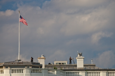 guard house: WASHINGTON D.C., USA - OCT 4, 2012 : The White House Guard is watching the vicinity to guarantee the safety of the presidential residence. Washington D.C.on October 4, 2012. Editorial