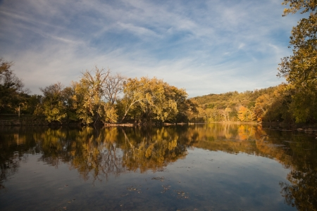 america countryside: Trees reflecting in the Shenandoah River, Virginia, USA