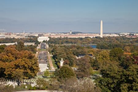 patriotism: Washington DC panorama - Aerial view of Arlington Hill