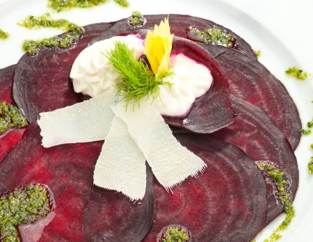 cold cuts: Vegetarian Beetroot Carpaccio w goat cheese and Pesto