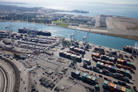 81: Oakland, California, USA - October 26, 2011  Port of Oakland, Middle Harbor Container Terminal  Terminal occupies 81 acres, 5 traveling container-handling cranes including 374 outlets for refrigerated cargo containers  Union Pacific Railroad operates nort