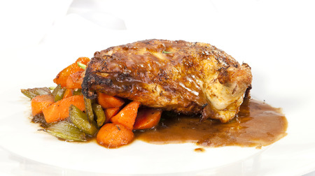 Grilled Chicken breast w wing, spicy sauce and vegetable photo