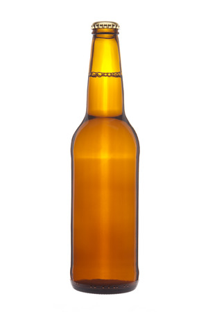 long neck: Bottle of beer with bubbles