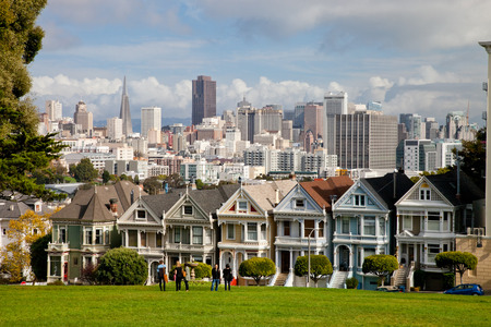 SAN FRANCISCO, USA - NOVEMBER 1st, 2012: Painted Ladies in San Francisco on November 1st, 2012. It is the row of Victorian houses at 710–720 Steiner Street, across from Alamo Square park. The houses were built between 1892 and 1896 by developer Matthew