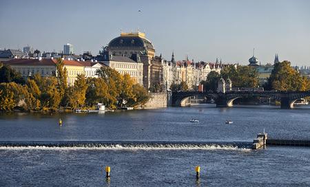Prague, Czech Republic, The National Theater and river Vltava photo