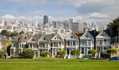 San Francisco-USA, November 1st, 2012:Painted Ladies is the row of Victorian houses at 710–720 Steiner Street, across from Alamo Square park. The houses were built between 1892 and 1896 by developer Matthew Kavanaugh. San Francisco, California, USA.