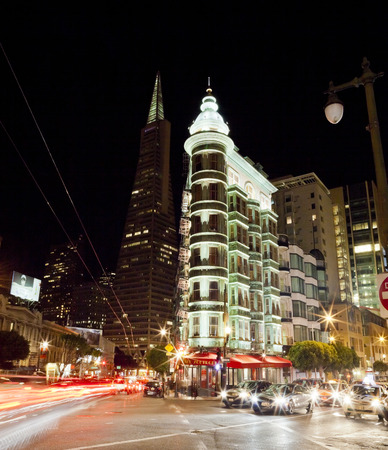 SAN FRANCISCO -NOV 4th  Transamerica and Flatiron buildings in San Francisco on Nov 4th, 2012  The city approved a cluster of high rises south of Market Street that will dwarf the Transamerica building