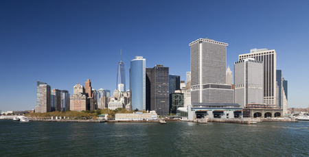 The New York City skyline at afternoon w the Freedom tower 2014 photo