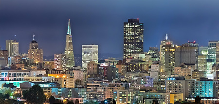 by the bay: San Francisco Downtown in the twilight, California Stock Photo
