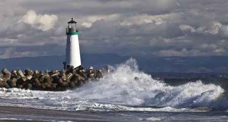Lighthouse on Santa Cruz Shore