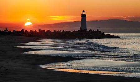 storm tide: Lighthouse on Santa Cruz Shore
