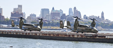 heliport: New York City, USA-October 5, 2014: MV-22 Osprey. Marine Helicopter Squadron One (HMX-1), is a squadron responsible for the transportation of the President of the United States, Vice President, Cabinet members and other VIPs. Taken at Manhattan heliport. Editorial