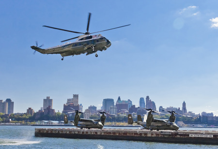 New York City, USA-October 5, 2014: Sikorsky VH-3D and MV-22 Osprey. Marine Helicopter Squadron One (HMX-1), is a squadron responsible for the transportation of the President of the United States, Vice President, Cabinet members and other VIPs