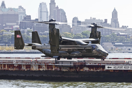 heliport: New York City, USA-October 5, 2014: MV-22 Osprey. Marine Helicopter Squadron One (HMX-1), is a squadron responsible for the transportation of the President of the United States, Vice President, Cabinet members and other VIPs. Taken at Manhattan Heliport.