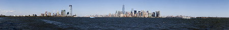 uptown: Panorama New York City, Jersey City, Brooklyn and Governors Island Stock Photo