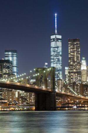 The New York City skyline at night w Brooklyn Bridge and Freedom tower Reklamní fotografie