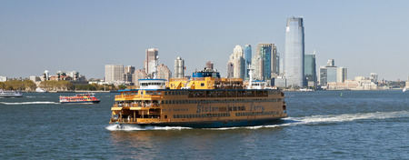 staten: New York, USA, September 27, 2014: Staten Island Ferry provides 22 million people a year (70,000 passengers a day) with ferry service between St. George on Staten Island and Whitehall Street in lower Manhattan