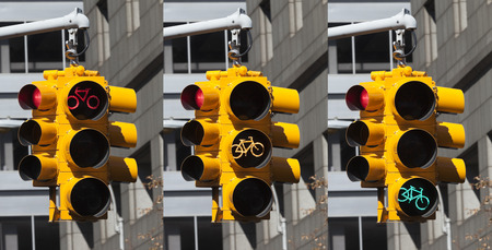 trafficlight: Bicycle lights on the crossroad in New York