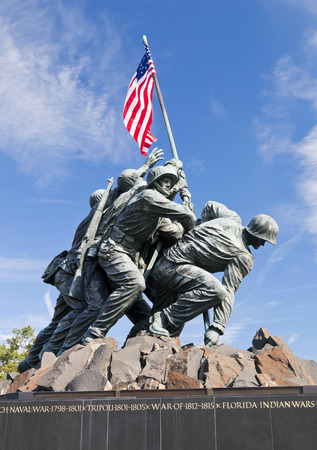 Washington DC, USA - October 20, 2014: Iwo Jima statue in Washington DC. The statue honors the Marines who have died defending the United States since 1775. Editorial