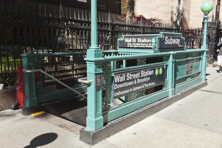 subway entrance: New York, USA-September 27, 2014 : Subway entrance in Lower Manhattan at Broadway. In 2013, the New York subway delivered over 1.71 billion rides. Editorial