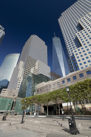 9 11: New York, USA - September 27, 2014: Freedom Tower in Lower Manhattan. One World Trade Center is the tallest building in the Western Hemisphere and the third-tallest building in the world. Taken from Frank O�Hara Plaza