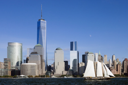 freedom tower: The New York City skyline at afternoon w the Freedom tower 2014
