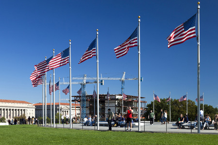 scheduled: Washington D.C., USA - October 17, 2014: Scheduled to open in 2016, the Afro American Museum is under construction on the National Mall in Washington, D.C., USA
