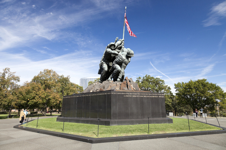 battle: Washington DC, USA - October 20, 2014: Iwo Jima statue at Arlington National Cementery in Washington DC. The statue honors the Marines who have died defending the United States since 1775. Editorial