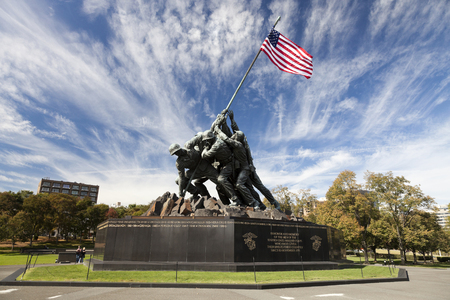 honors: Washington DC, USA - October 20, 2014: Iwo Jima statue at Arlington National Cementery in Washington DC. The statue honors the Marines who have died defending the United States since 1775. Editorial